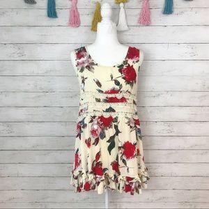 Entro Yellow Floral Ruffle Hem Tunic Size Medium